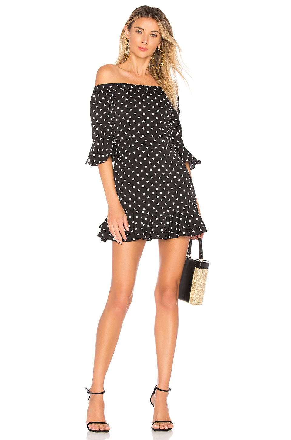 by the way. Faye Ruffle Off Shoulder Dress in Black & White