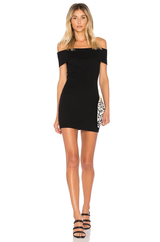 by the way. Tara Off Shoulder Knit Mini Dress in Black