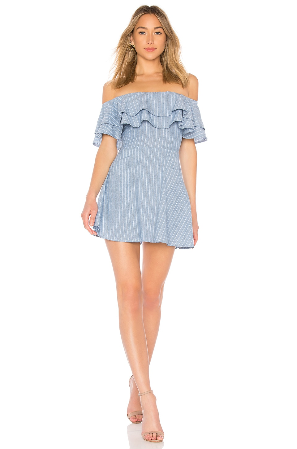 superdown Briget Ruffle Dress in Blue Stripe
