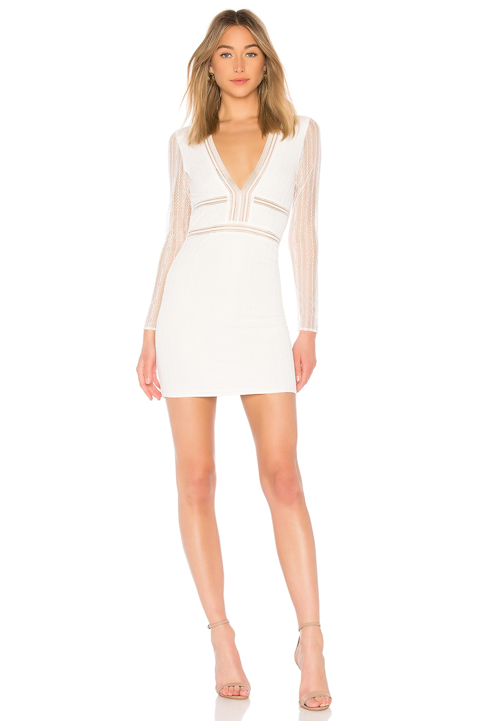 Lauri White Deep V Lace Bodycon