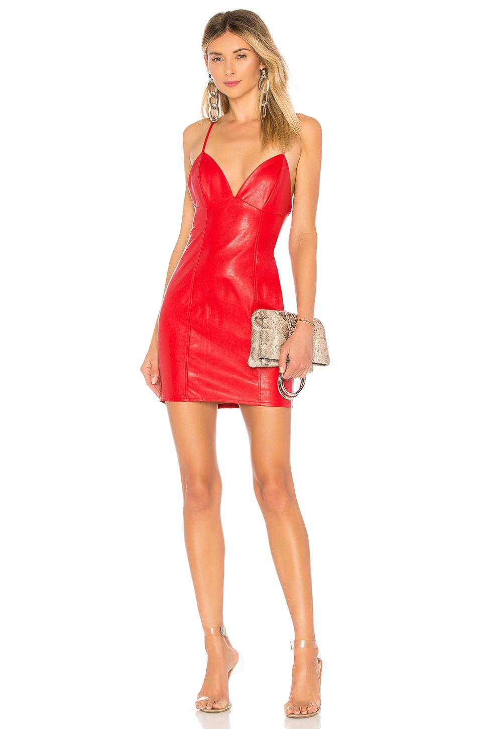 superdown Becca Faux Leather Dress in Red