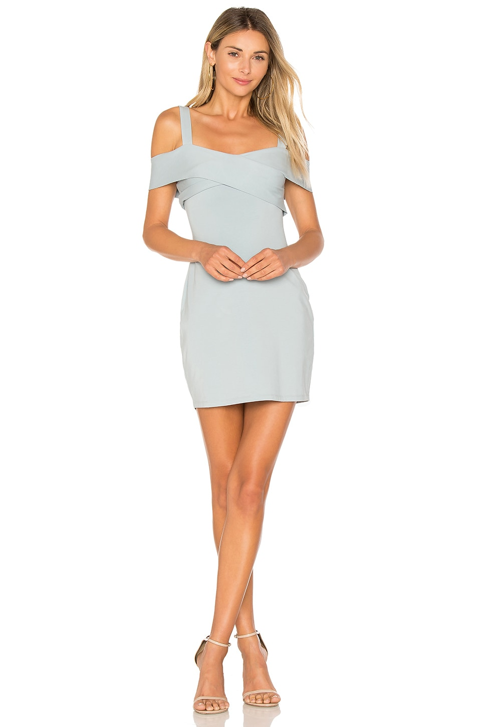 by the way. Evie Cold Shoulder Mini Dress in Light Blue