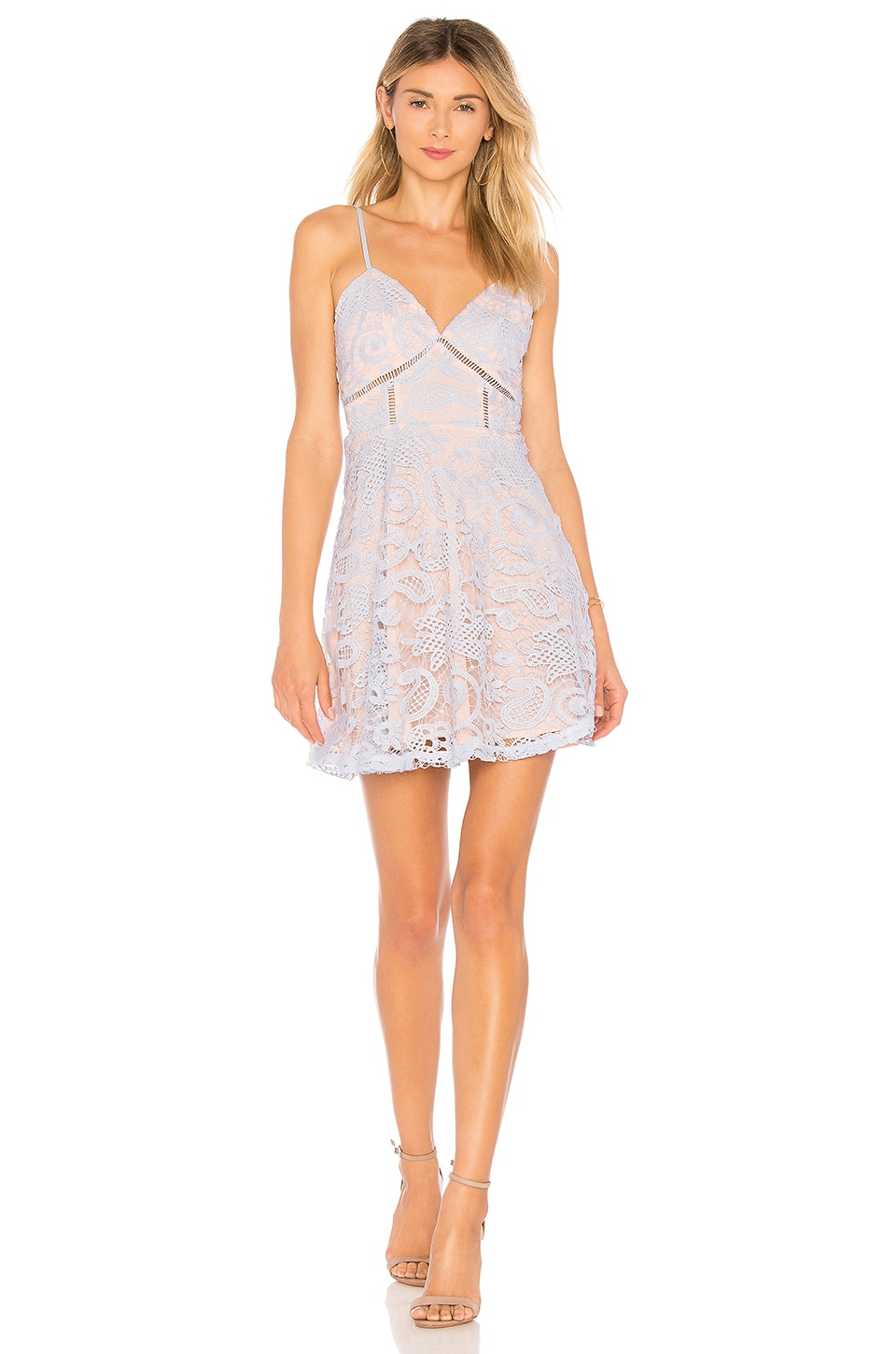 superdown Maci Lace Skater Dress in Light Blue