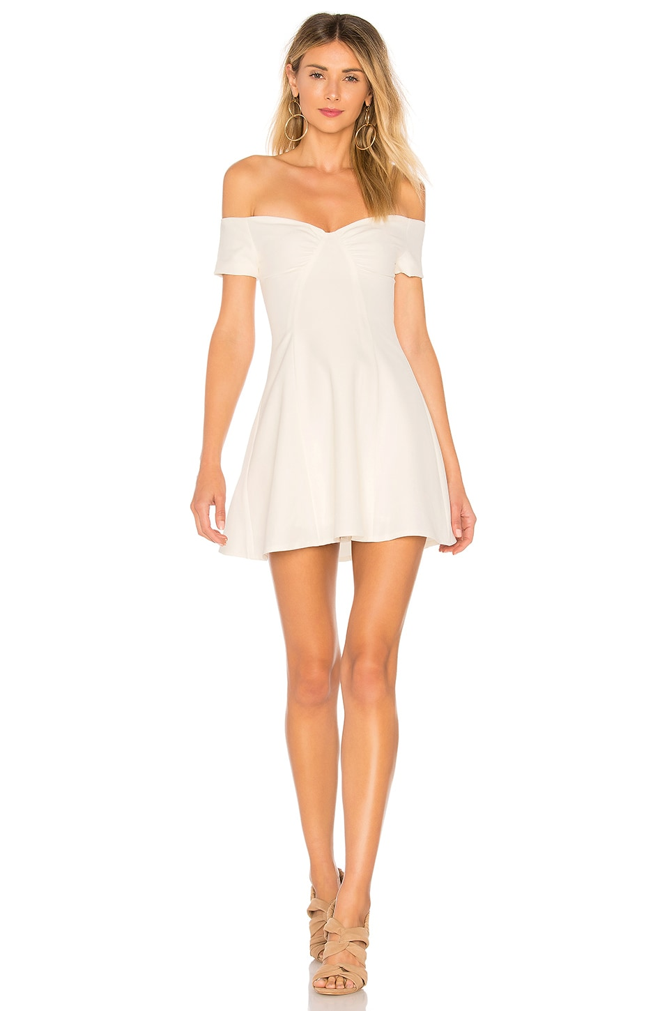 superdown Monica Fit & Flare Dress in Ivory