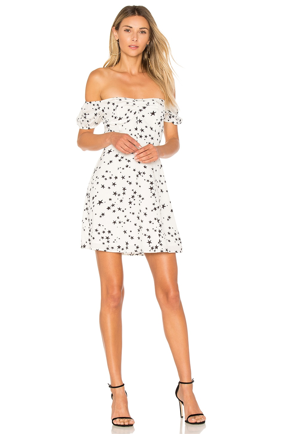 by the way. Lux Off Shoulder Skater Dress in Ivory Star