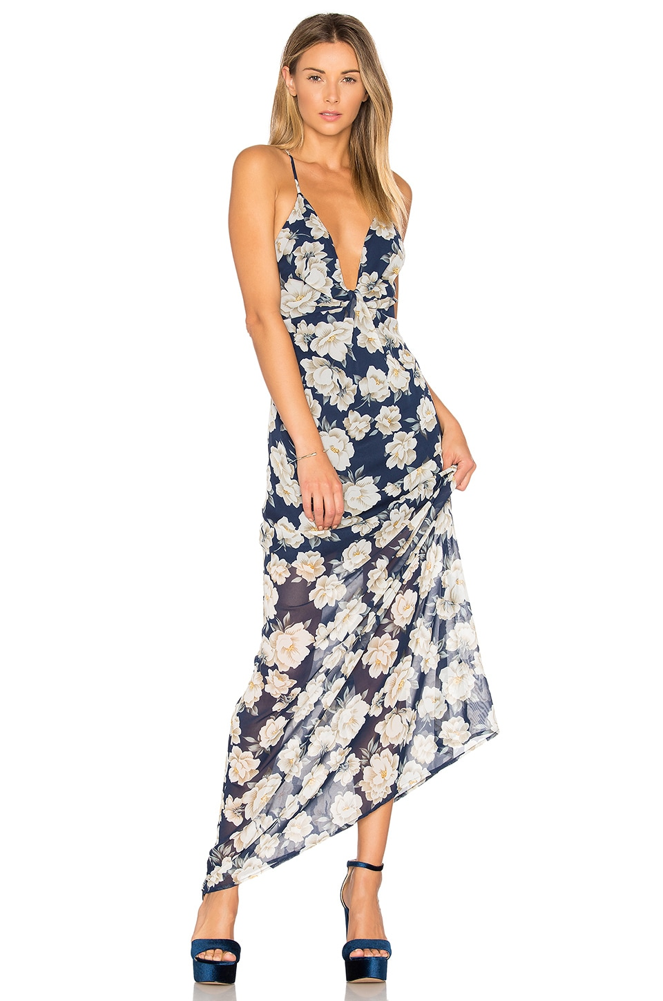 by the way. Heike Deep V Maxi Dress in Navy Floral