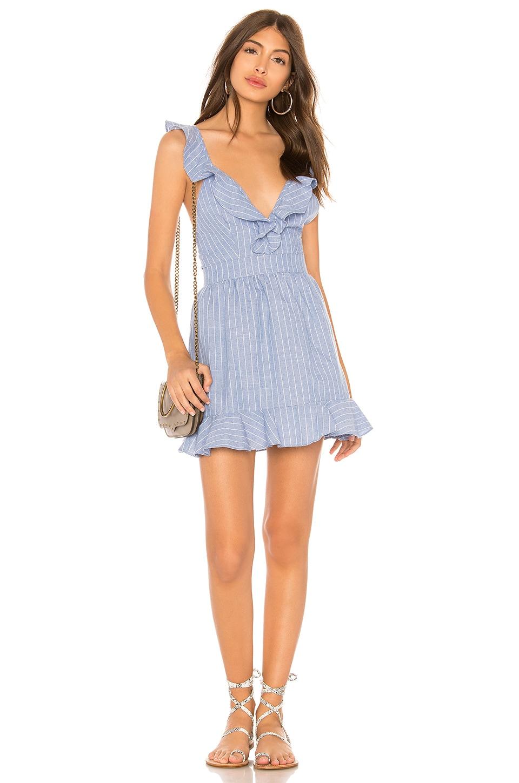 superdown Livia Striped Ruffle Dress in Light Blue