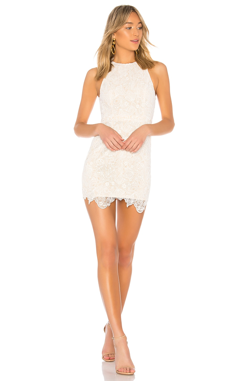 superdown Patty High Neck Crochet Dress in Ivory