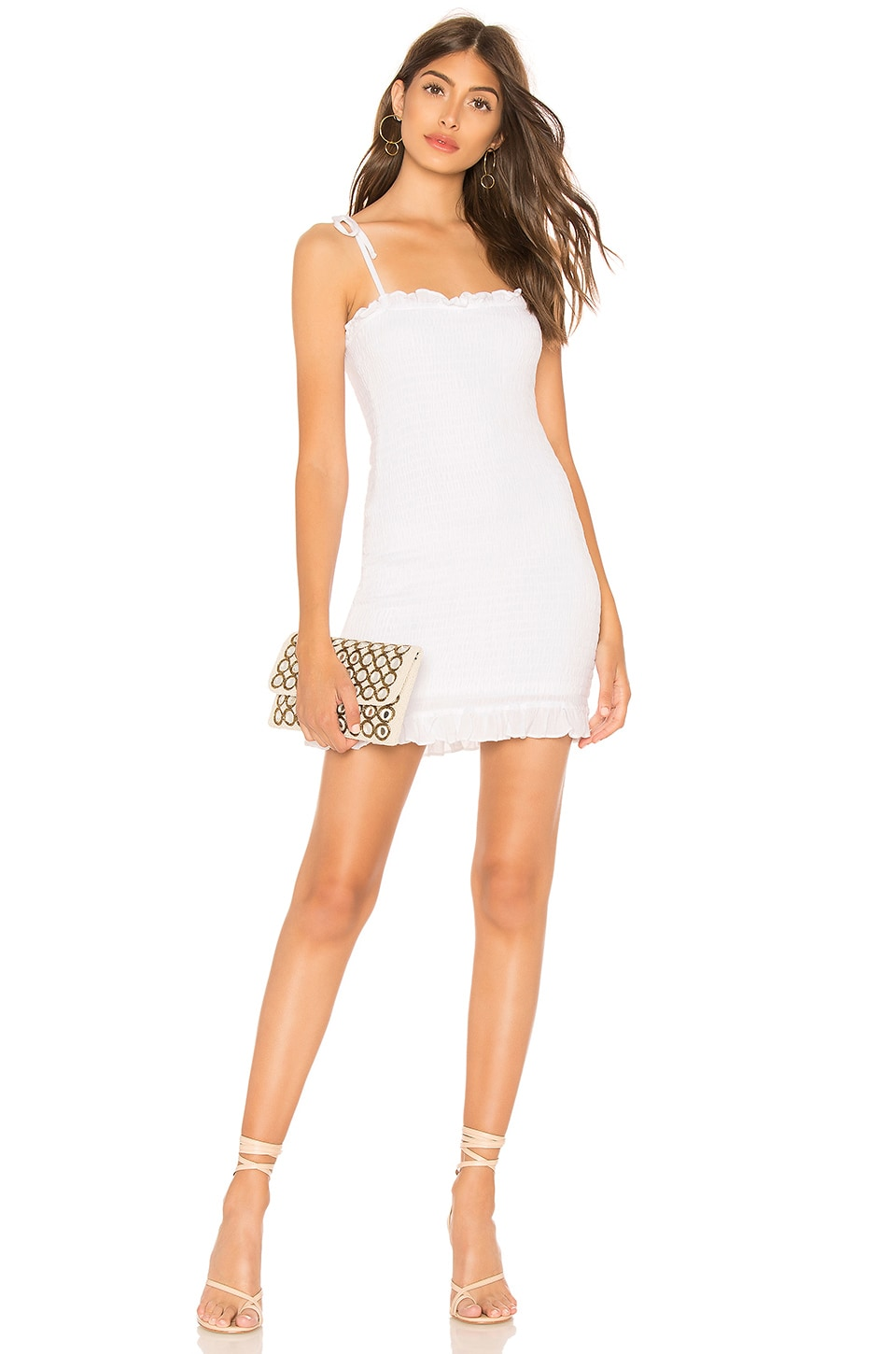 superdown Calie Smocked Tie Dress in White
