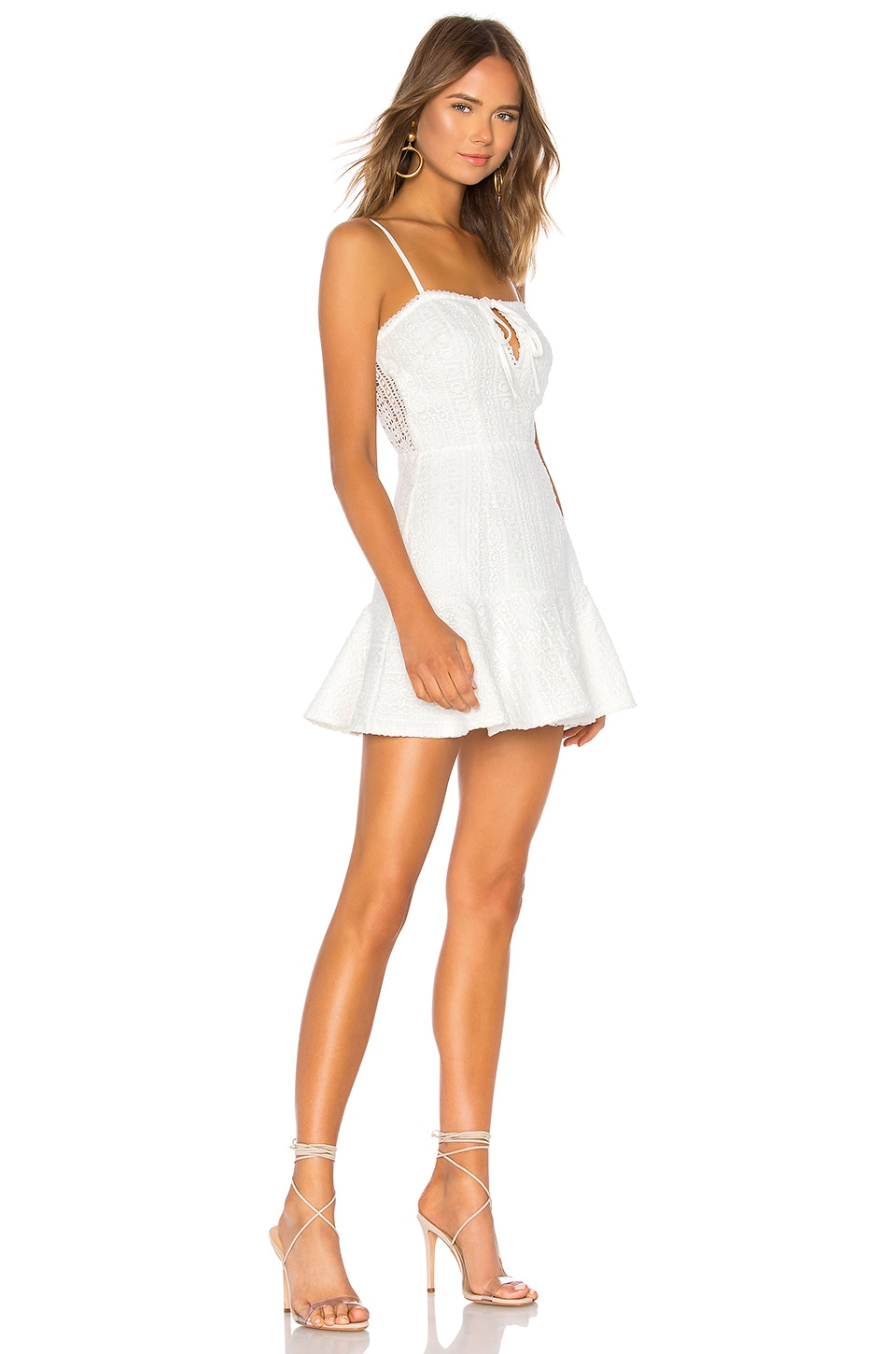 superdown Del Crochet Keyhole Dress in White