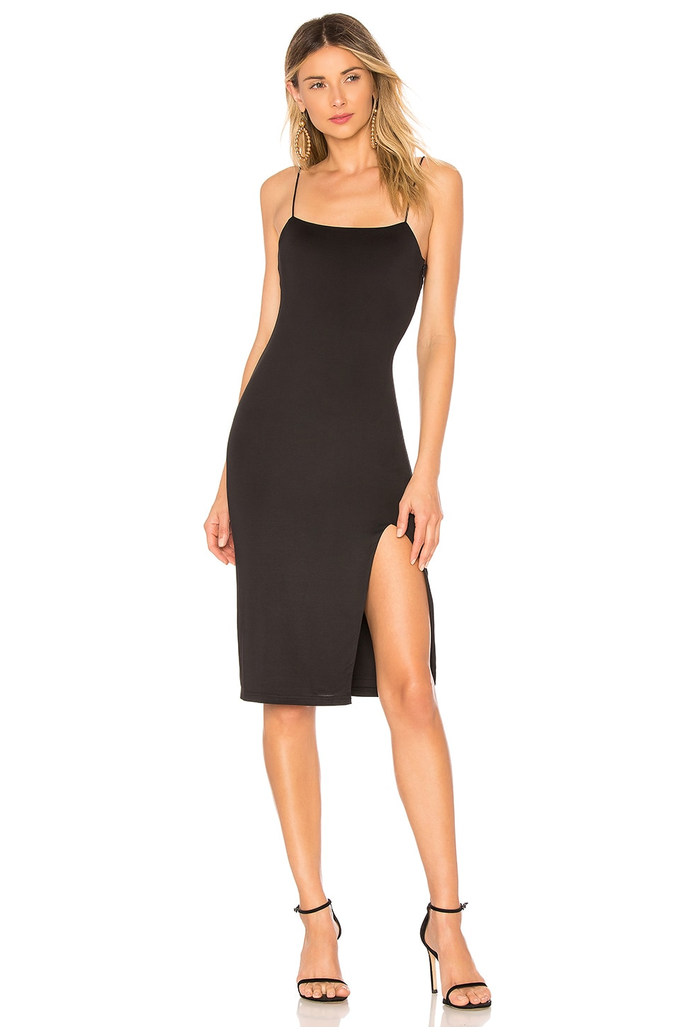 Nila Slit Midi Dress, Black