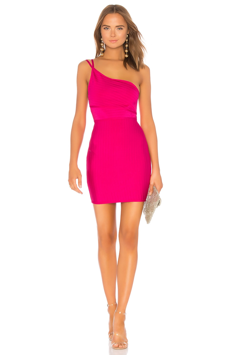 superdown Krystal Asymmetrical Bandage Dress in Hot Pink