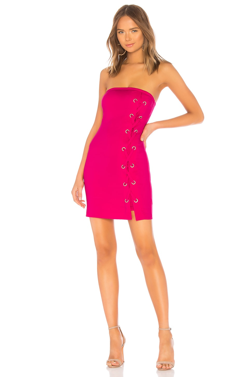 by the way. Tina Lace Up Dress in Hot Pink