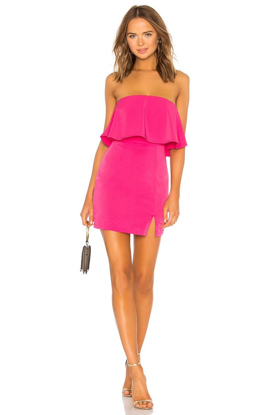 superdown Catalina Ruffle Tube Mini Dress in Hot Pink