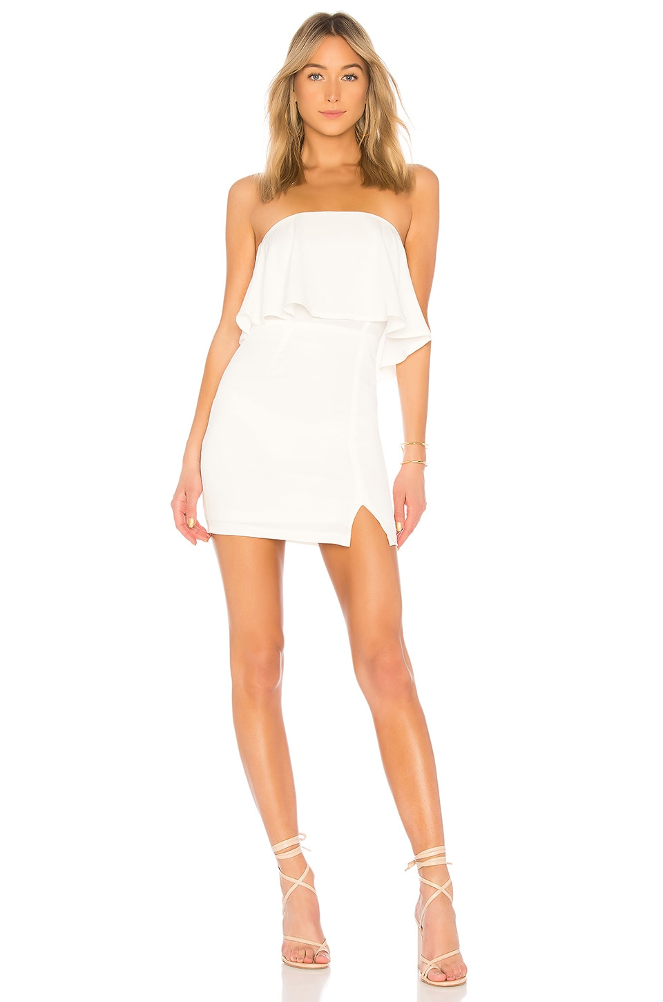 superdown Catalina Ruffle Tube Mini Dress in White