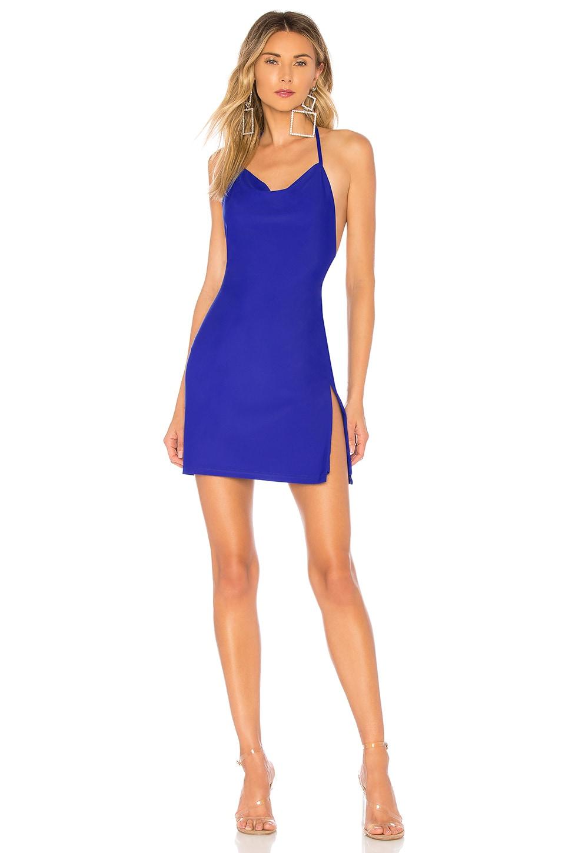 superdown Eden Cowl Neck Slit Dress in Royal Blue
