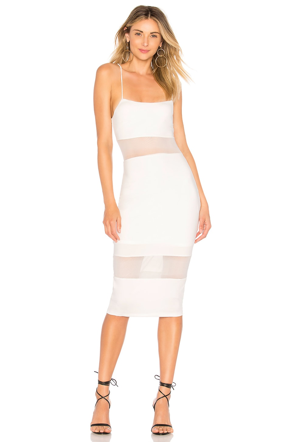 by the way. Naomi Mesh Cut Out Midi Dress in White