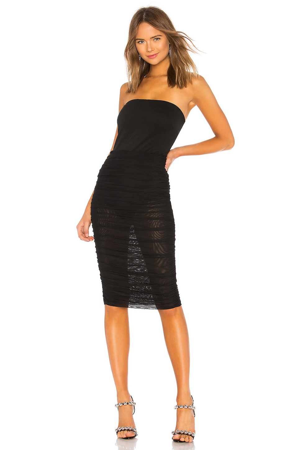 by the way. Estelle Sheer Tube Dress in Black