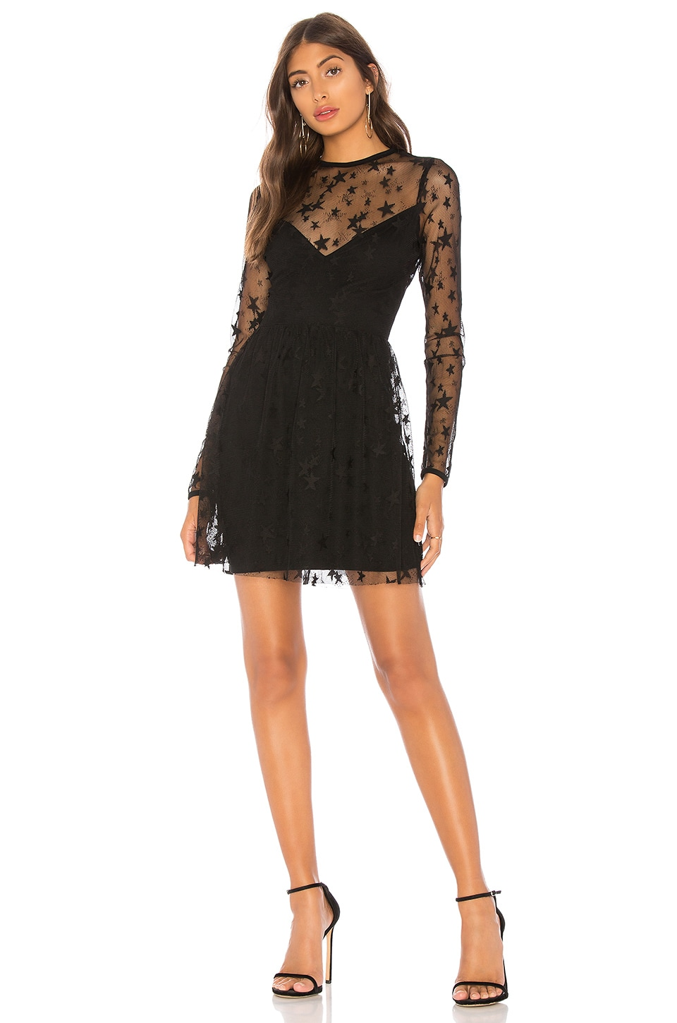 by the way. Abel Sheer Skater Dress in Black Star