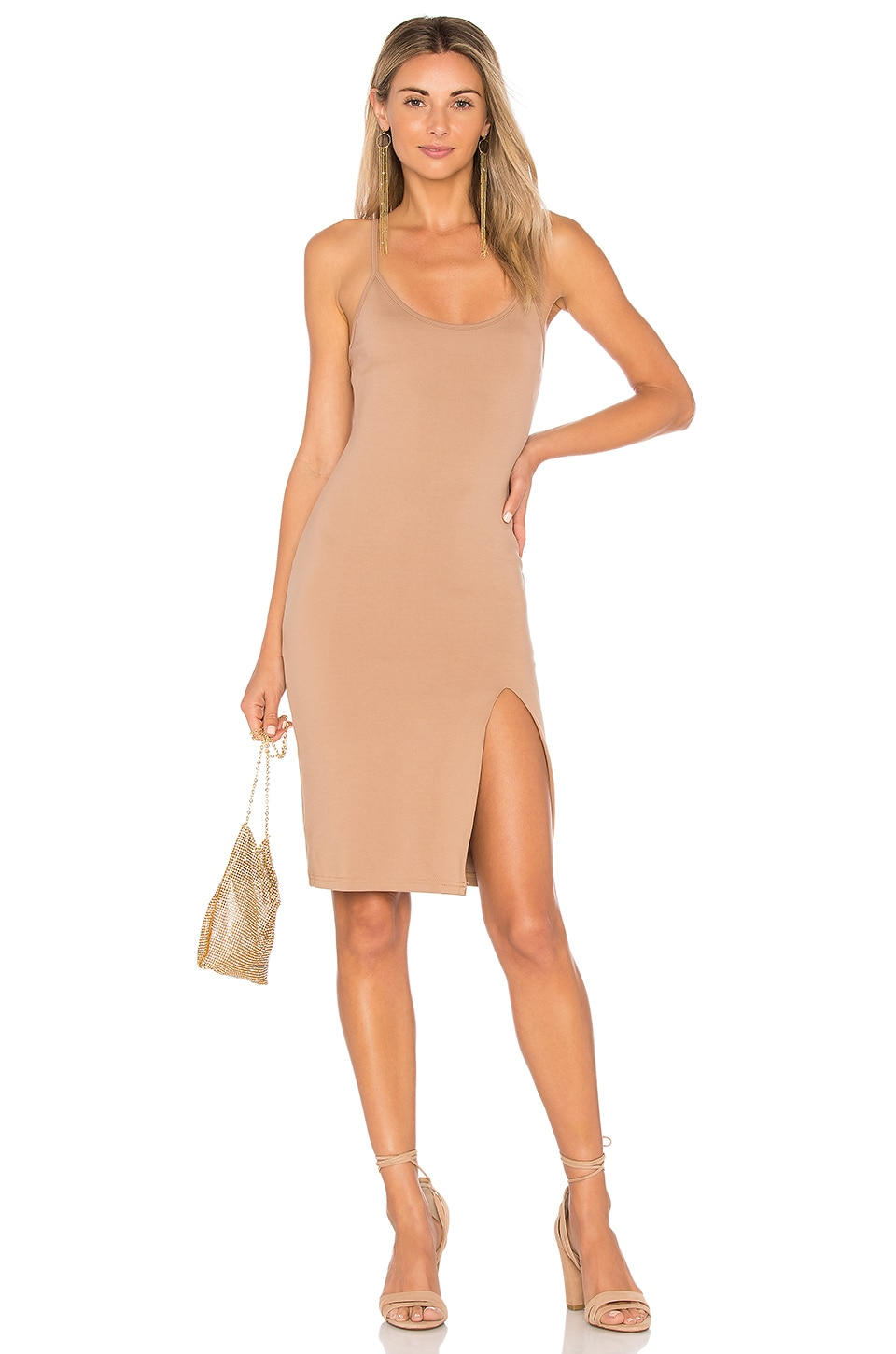 superdown Sina Bodycon Midi Dress in Nude