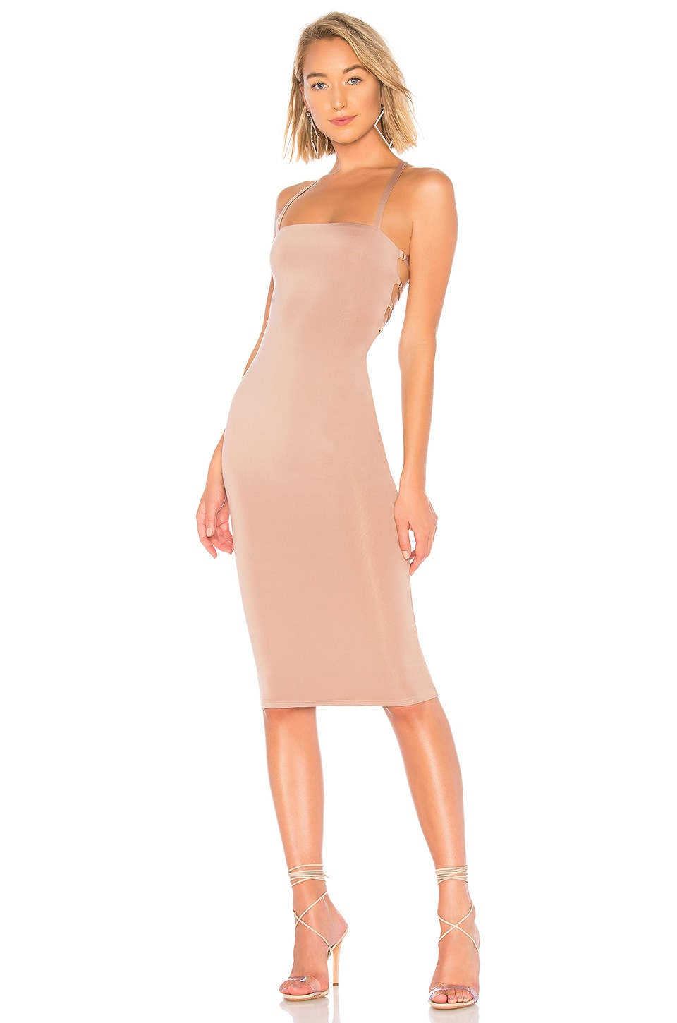 superdown Yvonne Laced Back Midi Dress in Taupe