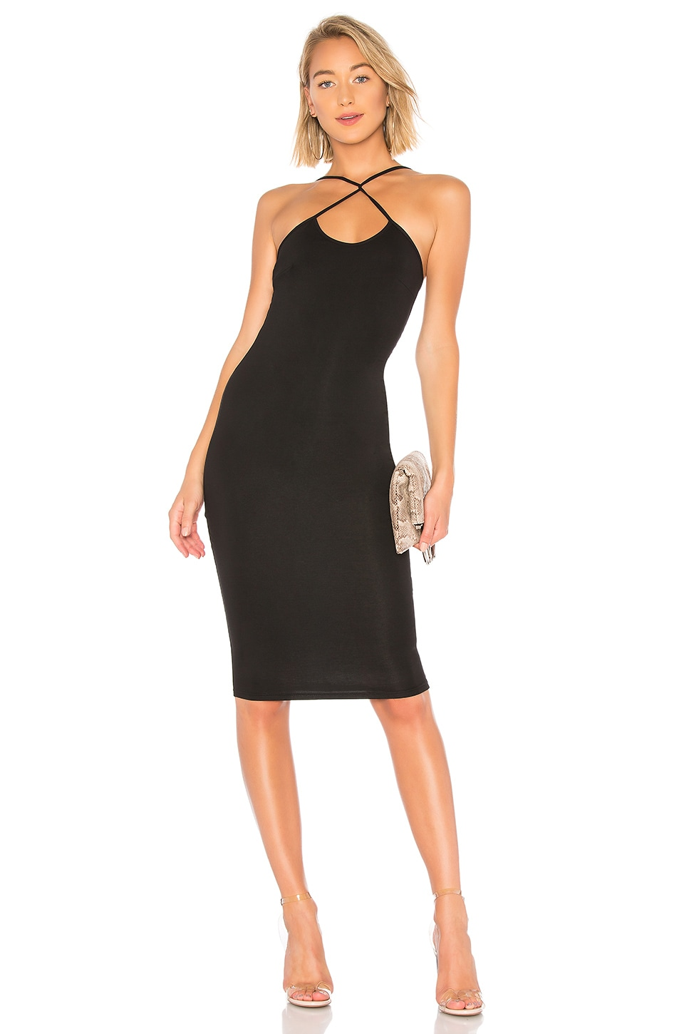 by the way. Courtney Cross Front Midi Dress in Black