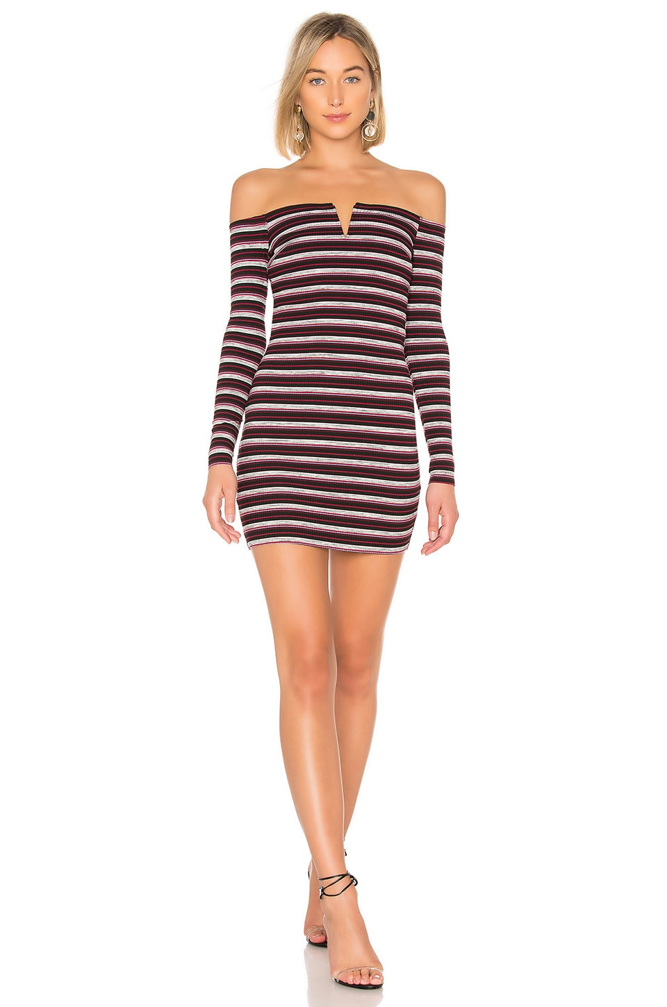 by the way. Kaira Off Shoulder Dress in Plum Stripe