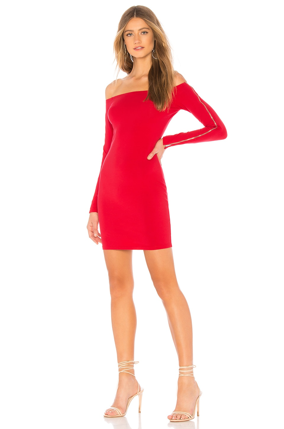by the way. Alliza Zip Sleeve Mini Dress in Red