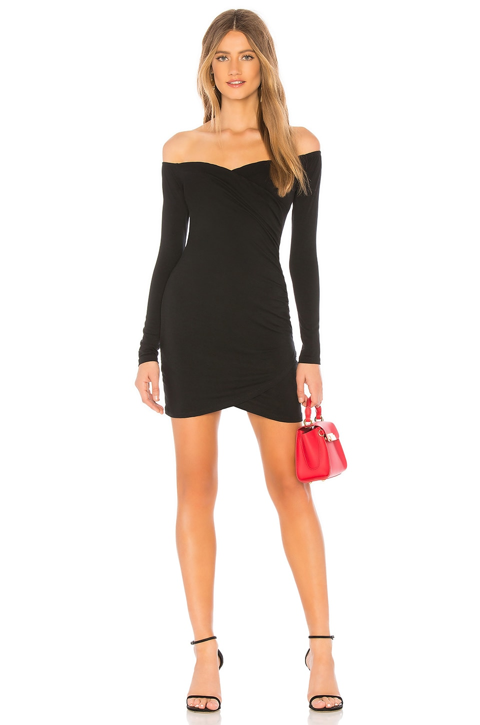 BY THE WAY. LUCIE RUCHED SIDE LONG SLEEVE DRESS