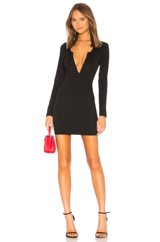 by the way. Emmy Deep V Mini Dress in Black