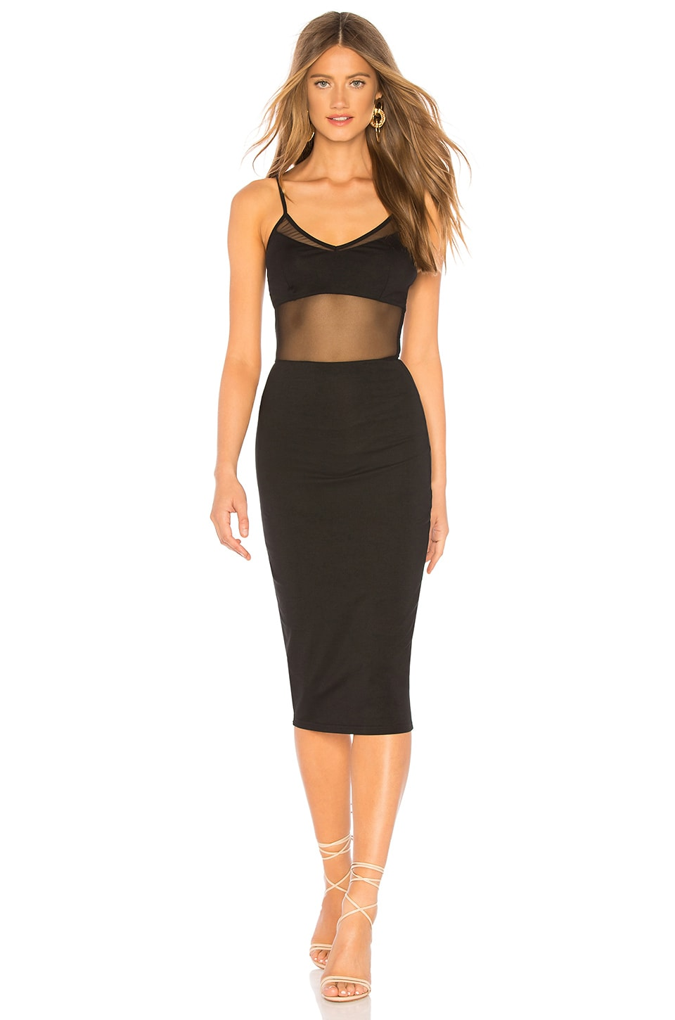 by the way. Sophie Mesh Midi Dress in Black