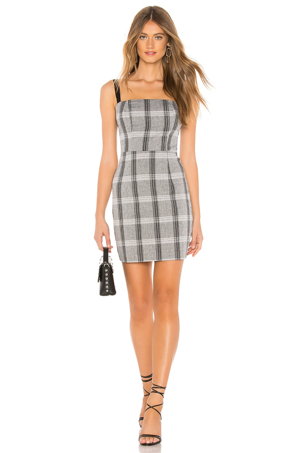 by the way. Robyn Mini Dress in Grey Plaid
