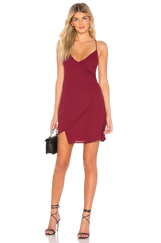 superdown Aiden Wrap Mini Dress in Wine