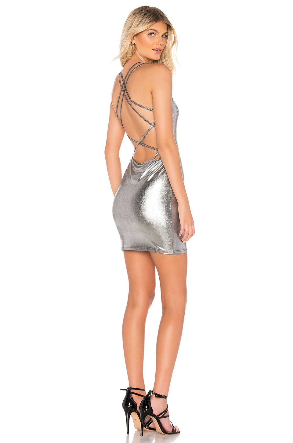 by the way. Angie Strappy Back Mini Dress in Silver