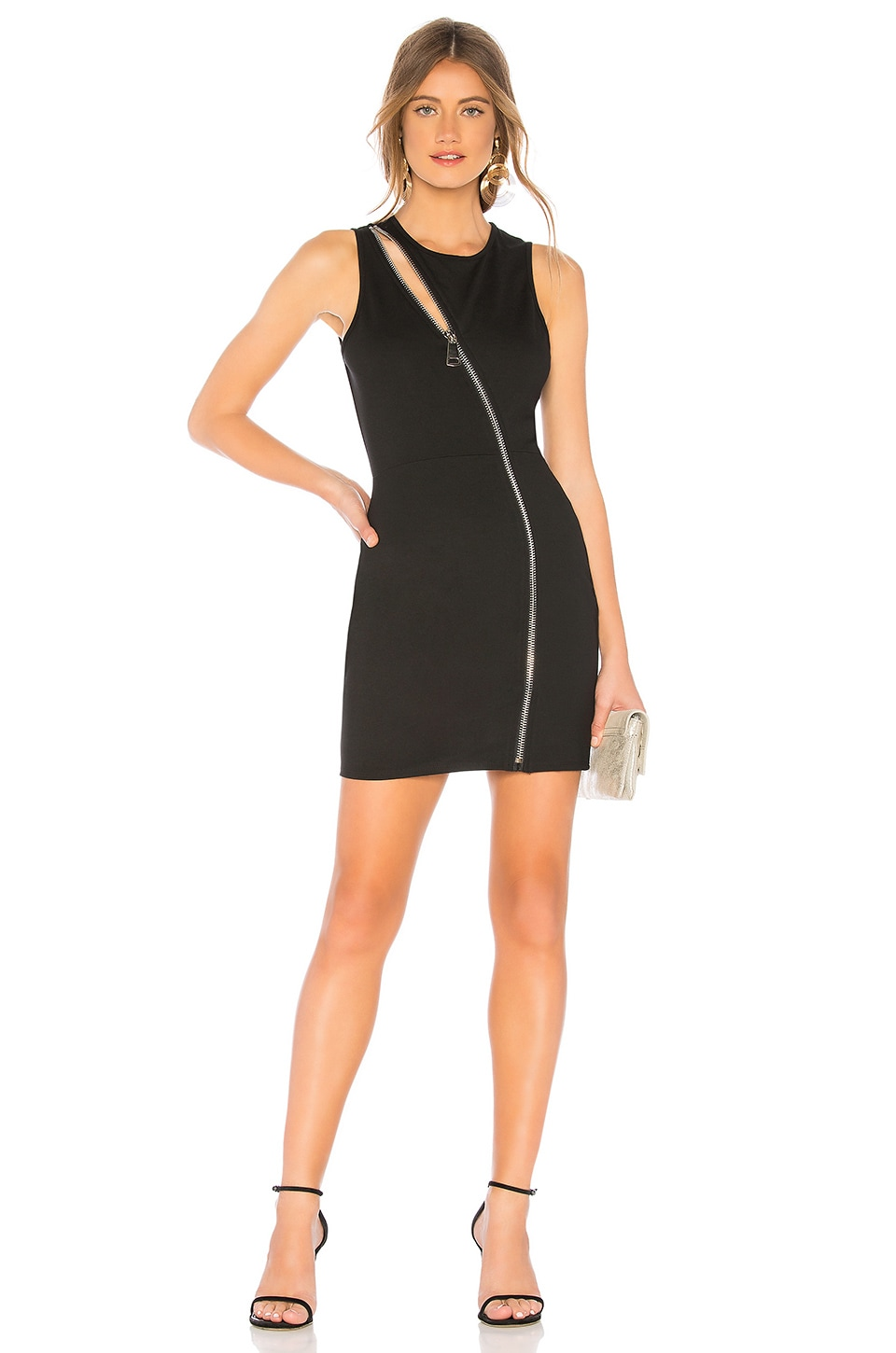 by the way. Leslie Zip Front Mini Dress in Black