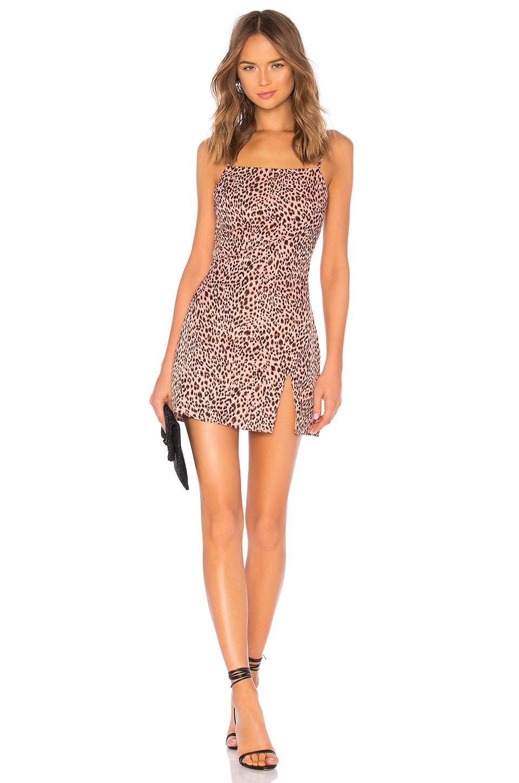 superdown Kensley High Slit Shift Dress in Pink Leopard
