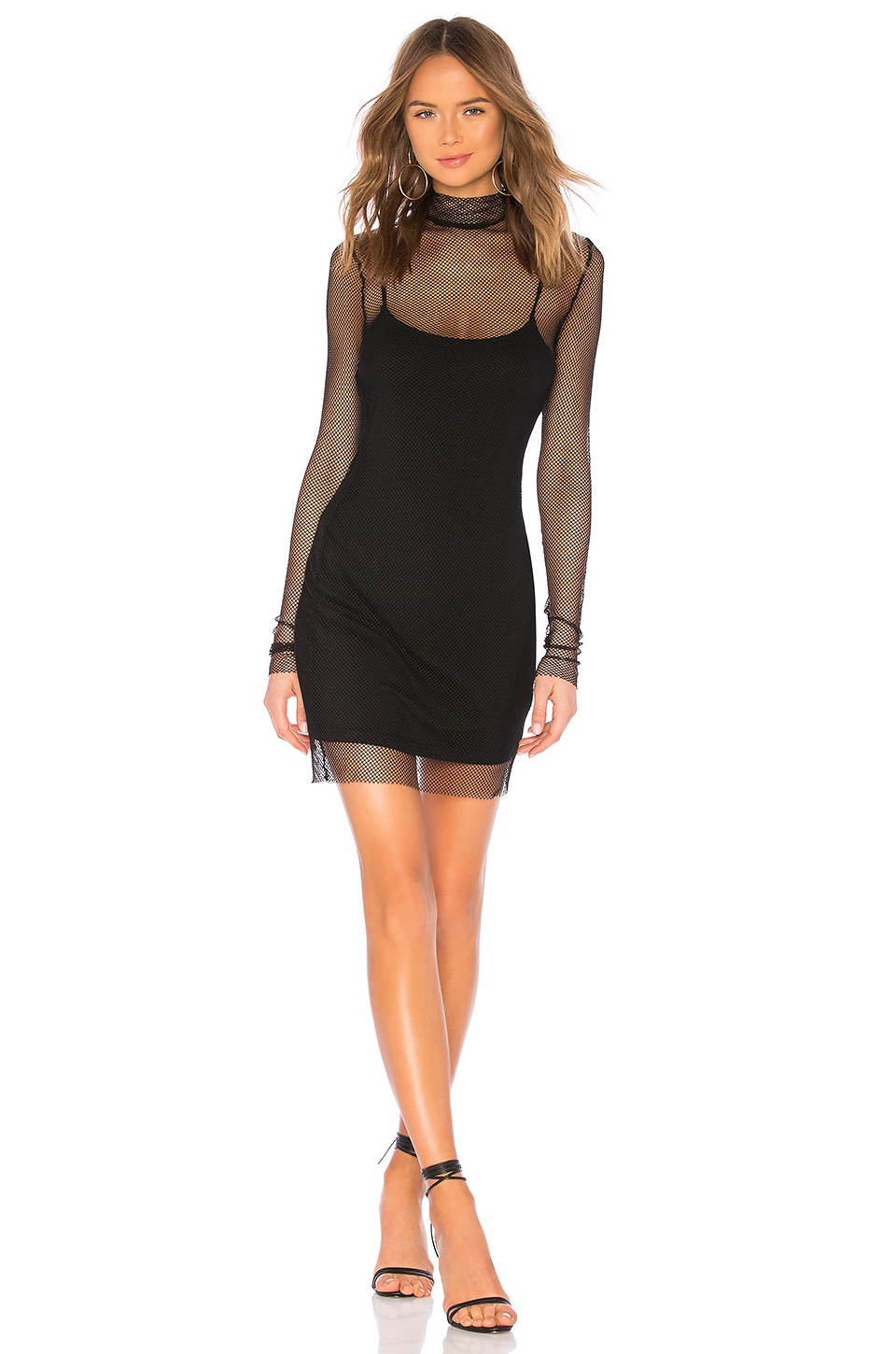 superdown Kacey Fishnet Dress in Black