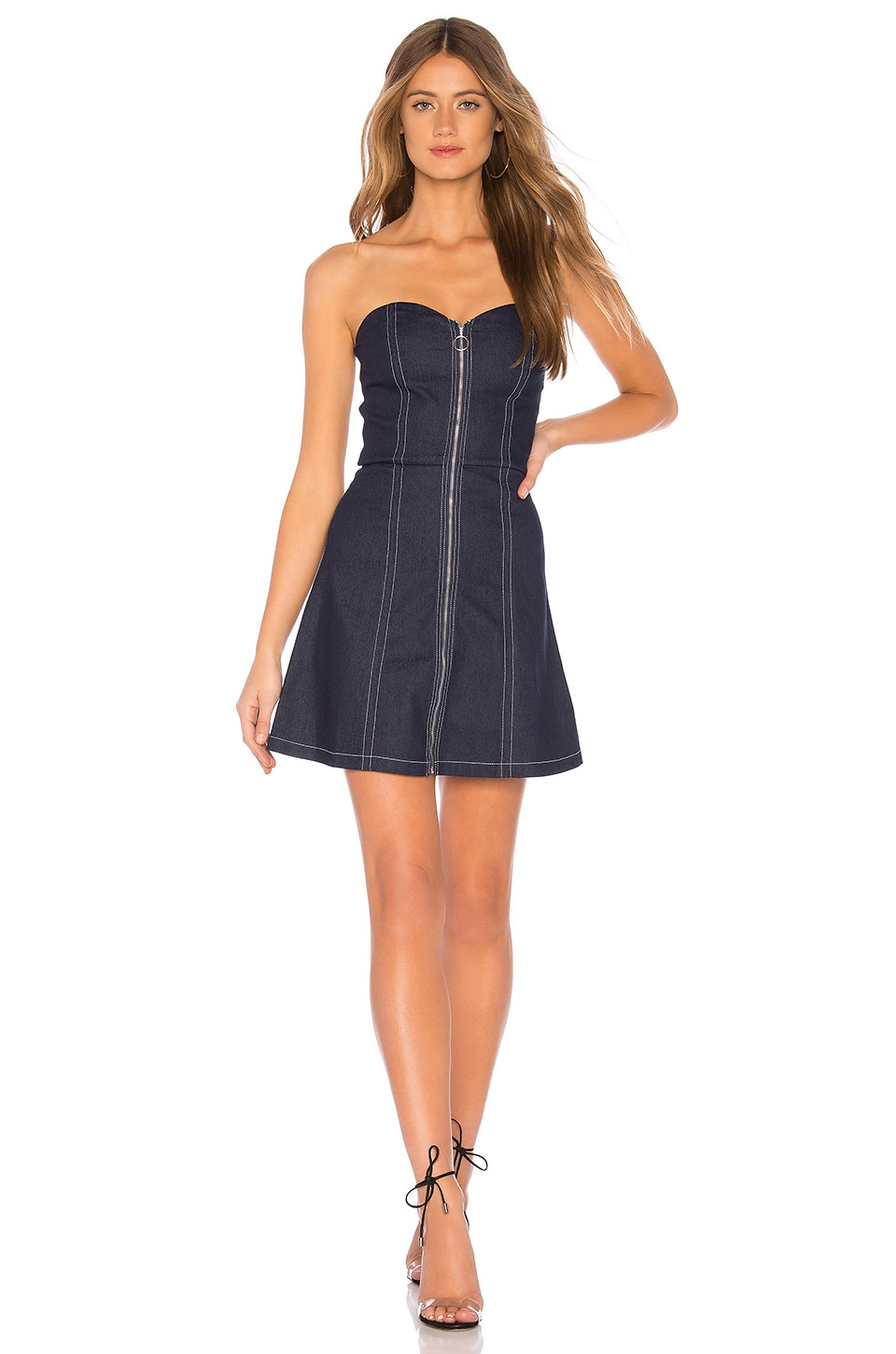by the way. Heidie Zip Up Strapless Dress in Dark Denim
