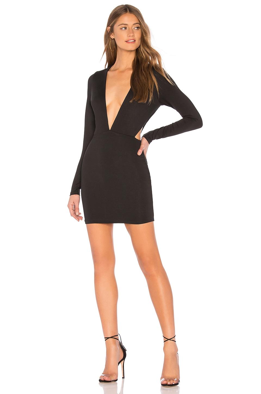 superdown Rhonda Deep V Mini Dress in Black