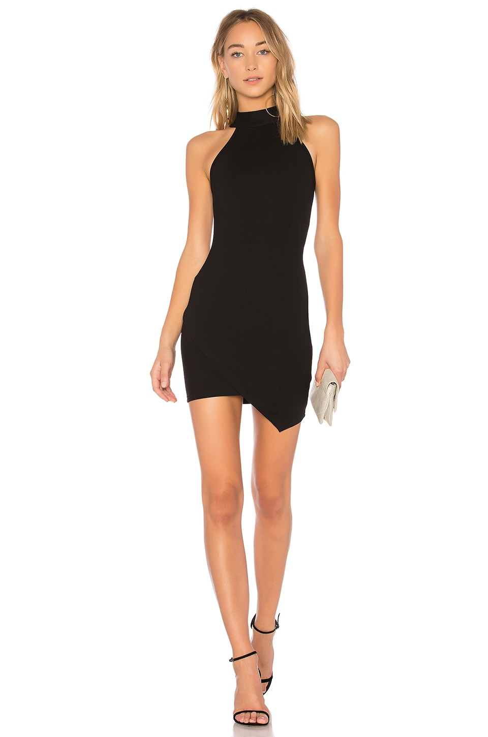 superdown Tegan Wrap Mini Dress in Black