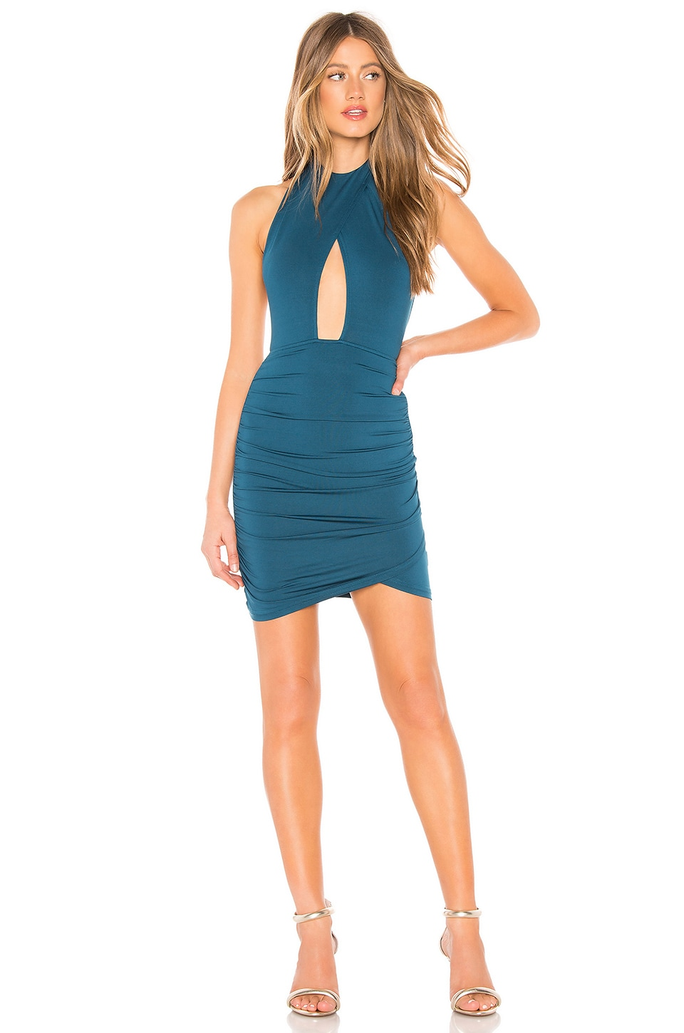 by the way. Lauren Ruched Cut Out Dress in Teal