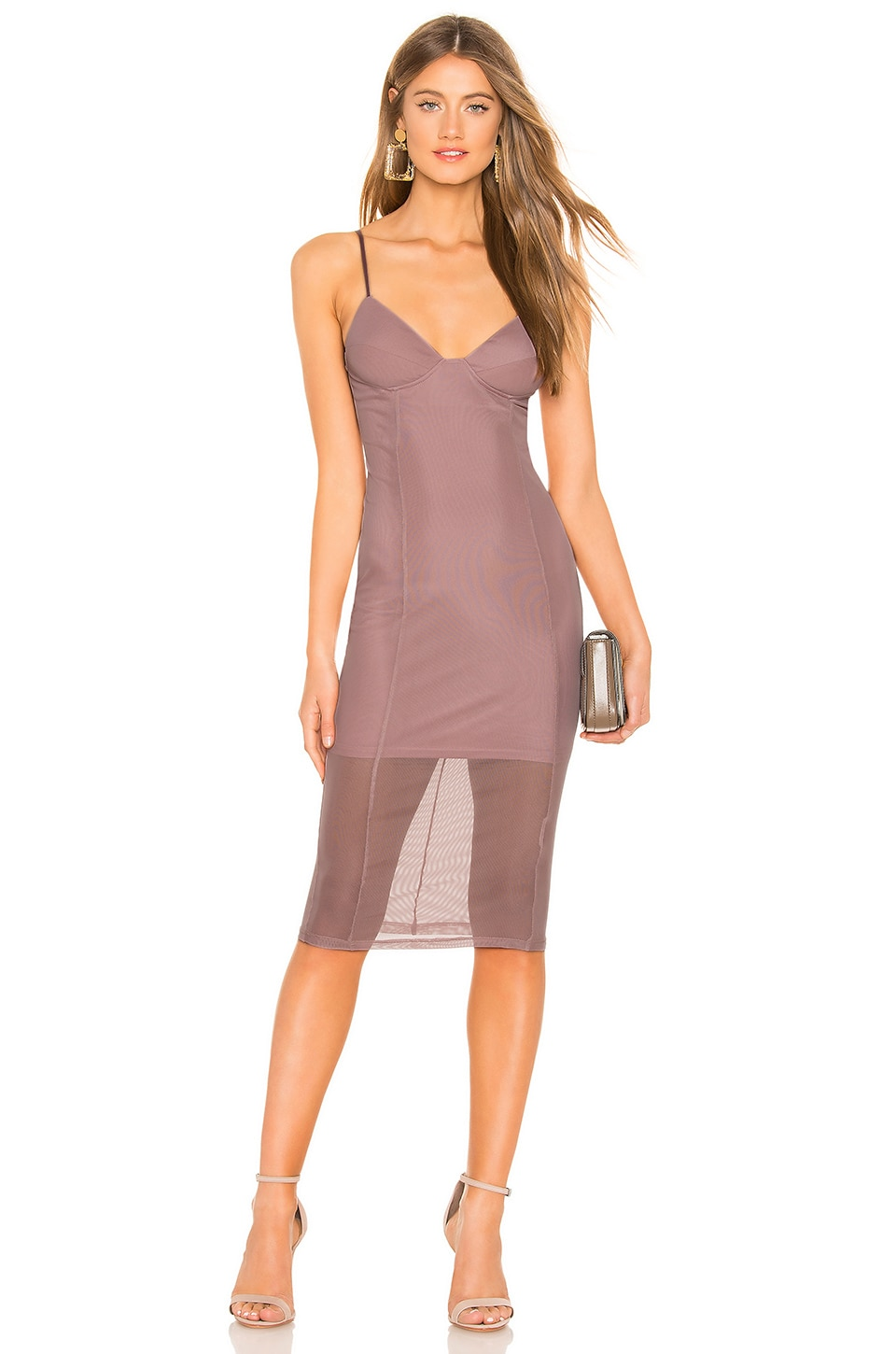 by the way. Jhene Mesh Midi Dress in Mauve
