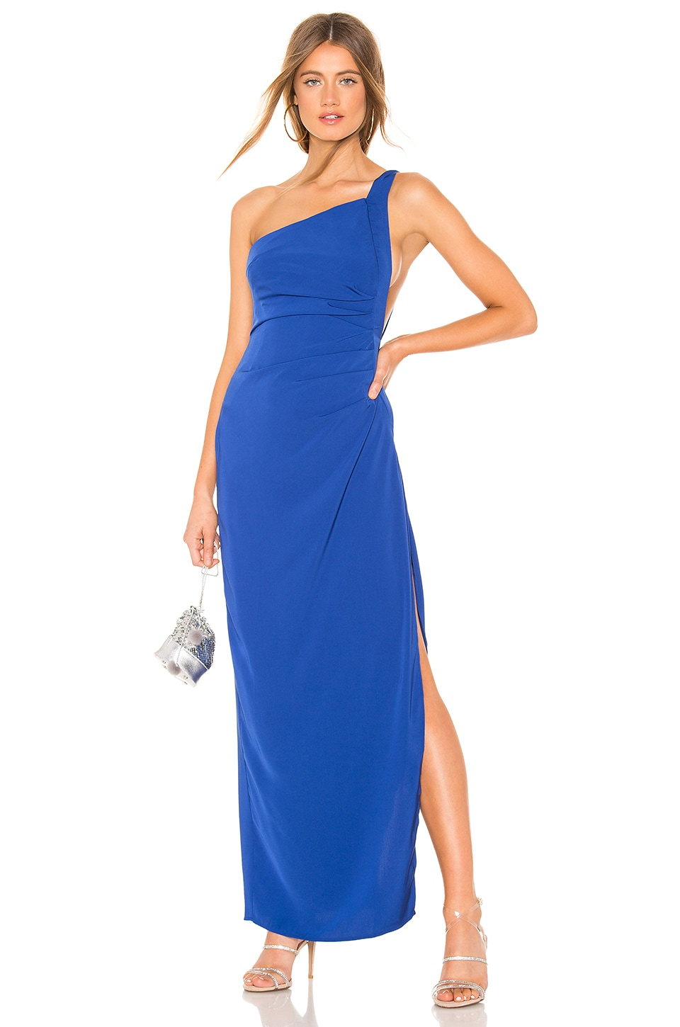 by the way. Norah Ruched Asymmetric Maxi Dress in Cobalt Blue