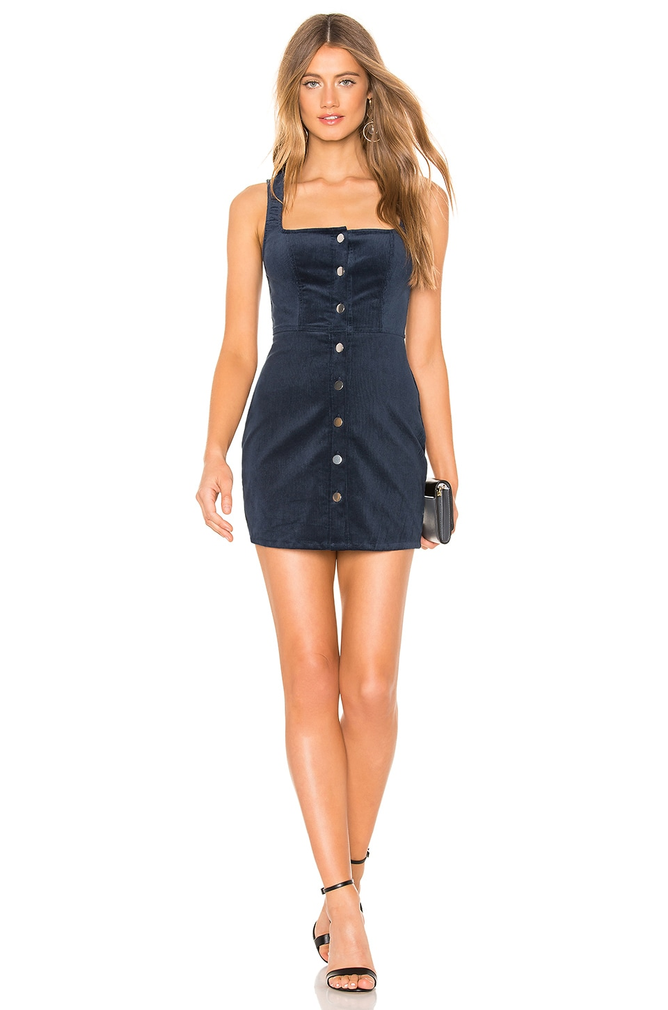 by the way. Demi Corduroy Button Up Mini Dress in Blue Corduroy
