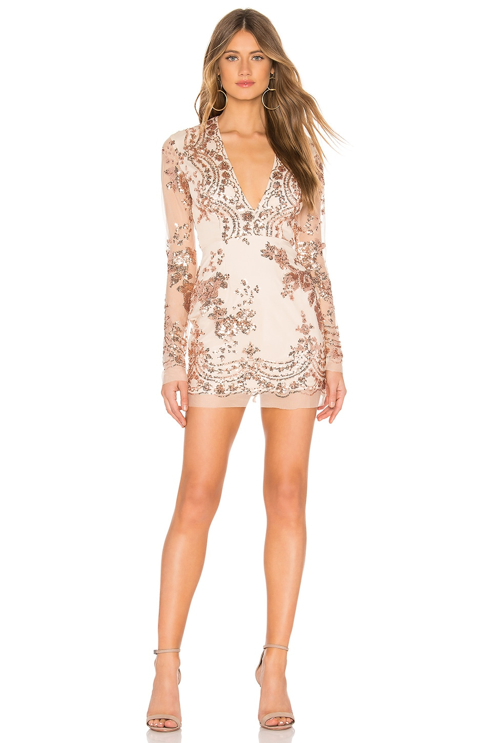 by the way. Jessa Deep V Mini Dress in Rose Gold