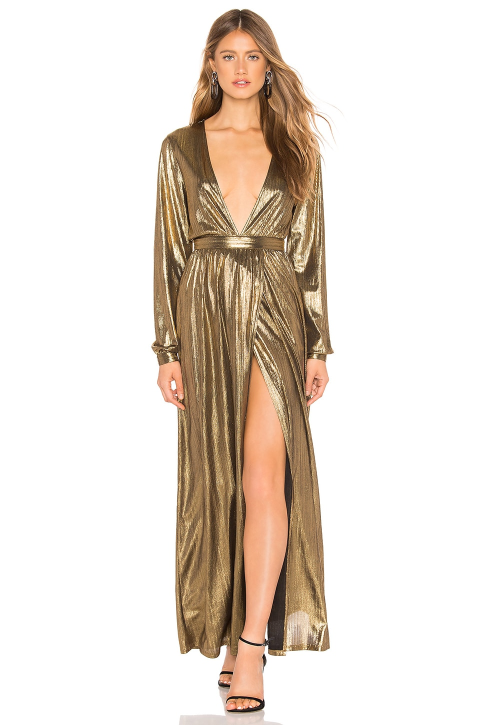 by the way. Lisa Plunge V Neck Maxi in Gold