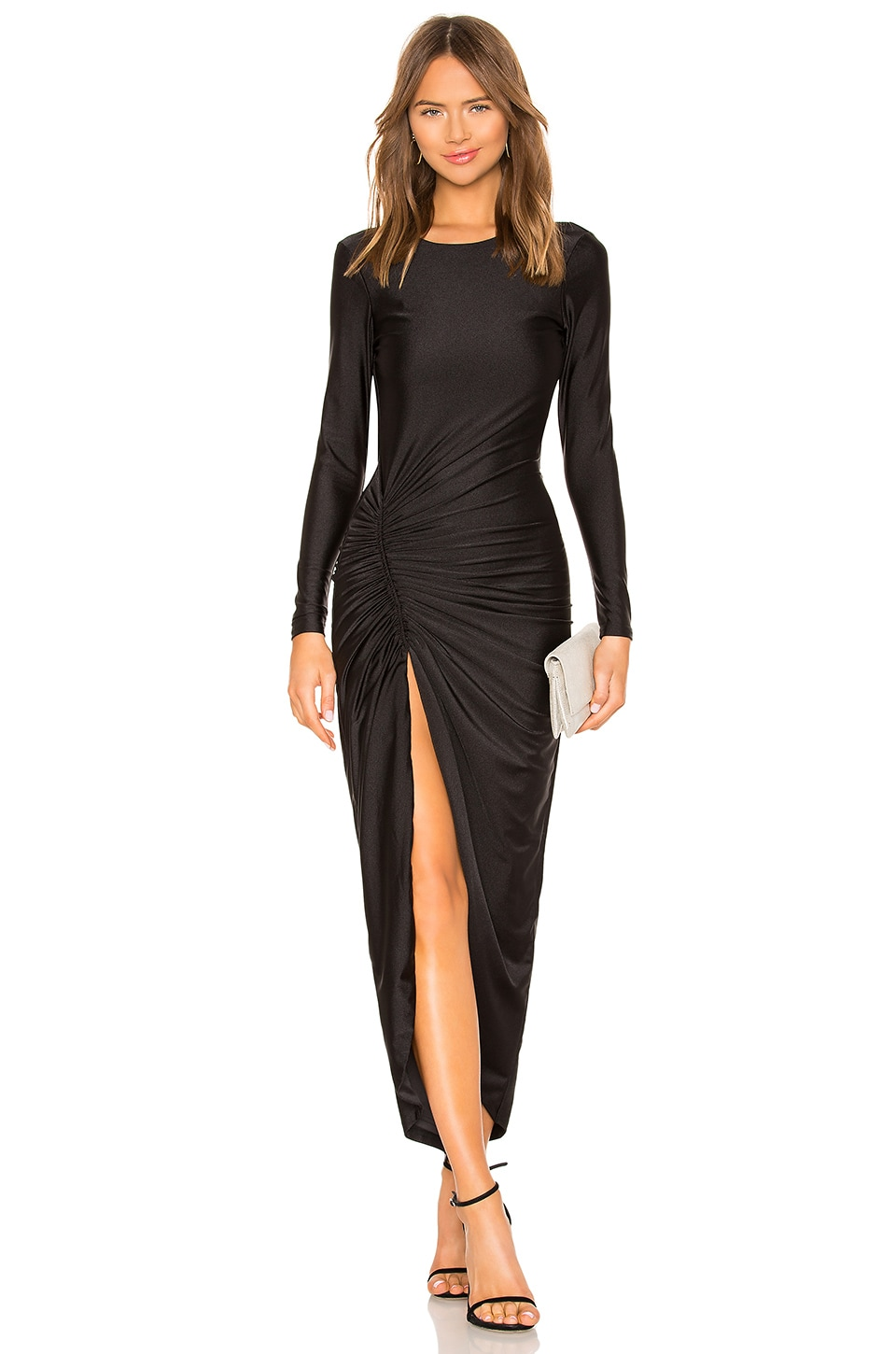 by the way. Sarah Ruched Maxi Dress in Black