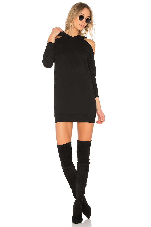 superdown Delia Cold Shoulder Sweatshirt Dress in Black