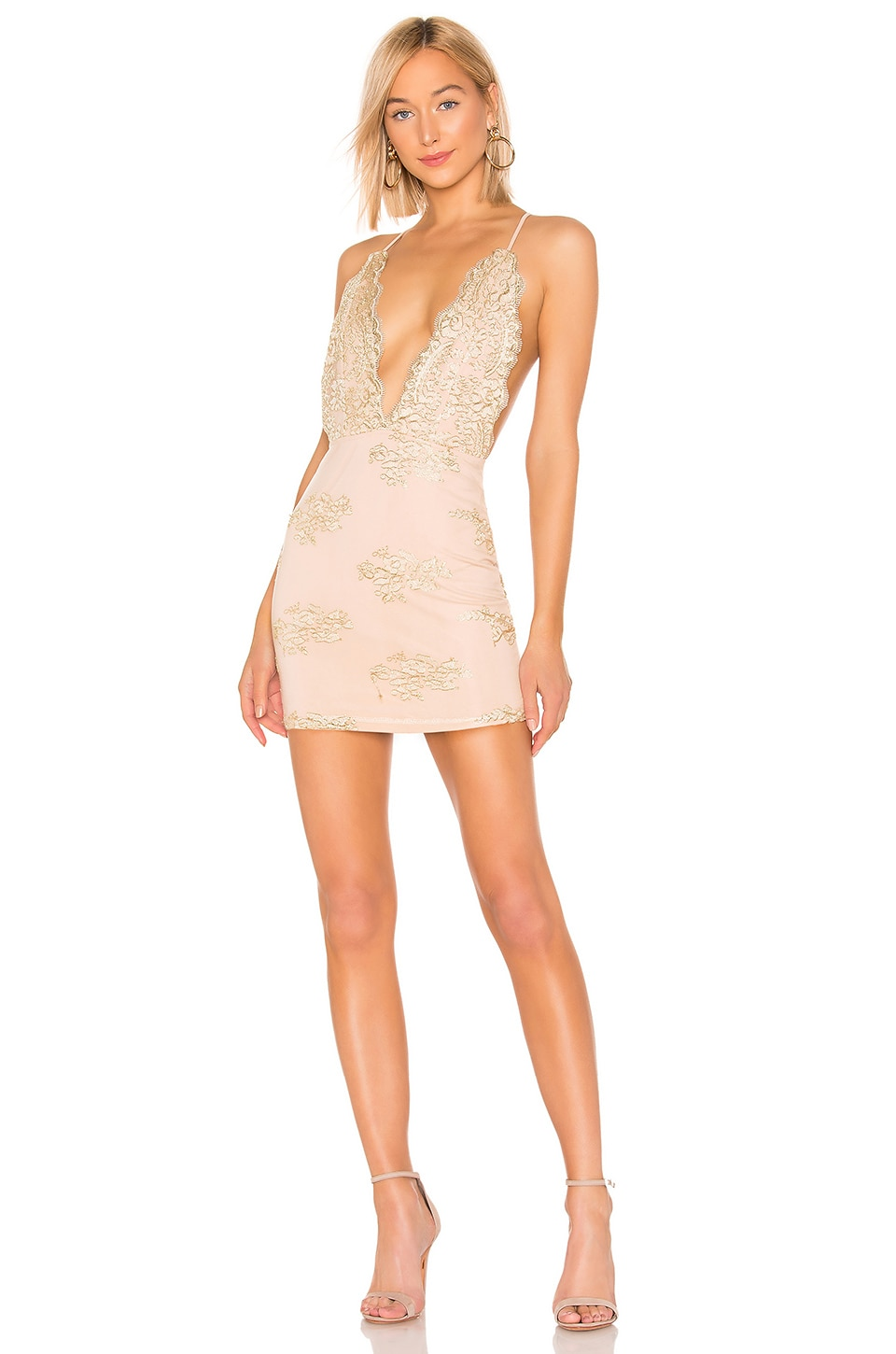 by the way. Gianna Deep V Mini Dress in Gold Multi