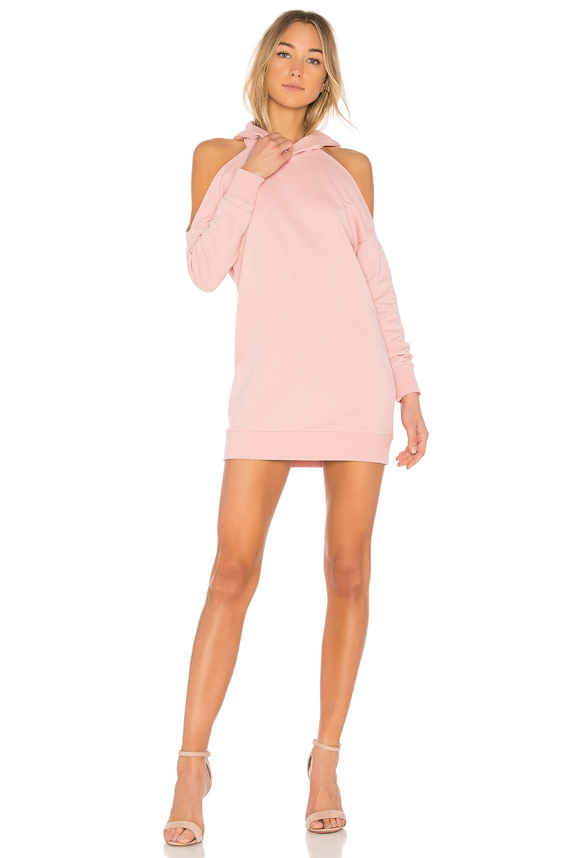 by the way. Delia Cold Shoulder Sweatshirt Dress in Rose